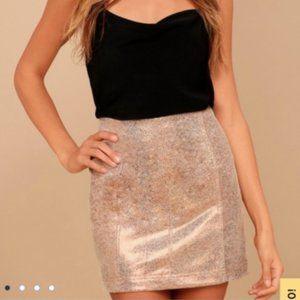 Free People Rose Gold Metallic Mini Skirt